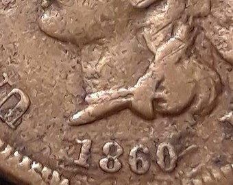 1860 Pointed Neck Indian Head Penny