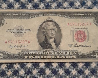 1953 A  Crisp 2 dollar red seal bill Fine
