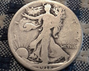 World War 1  Era 1918-D Walking Liberty Siver Half Dollar  90 percent SILVER