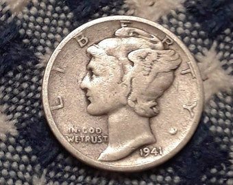 1941 War World II  Mercury Dime 90% Silver