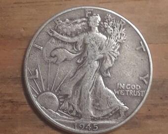 World War 2  Era 1945  Walking Liberty Siver Half Dollar  90 percent SILVER