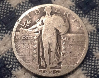 1926 Standing Liberty  90% Silver US Quarter Rolling Twenties