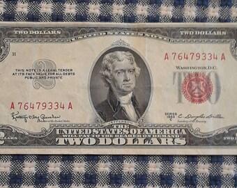 1953-C Crisp 2 dollar red seal bill FR#1512