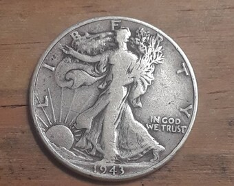 World War 2  Era 1943 Walking Liberty Siver Half Dollar  90 percent SILVER