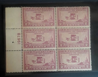 Internation Civil Aeronautics Conference 2 cent stamp, Six Mint Stamps