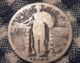 1928 Standing Liberty  90% Silver US Quarter Rolling Twenties