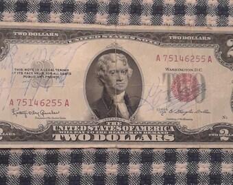 1953 2 dollar red seal bill