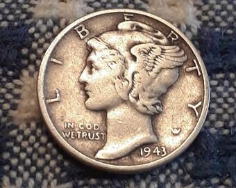 1943 War World II  Mercury Dime 90% Silver