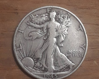 World War 2  Era 1945S Walking Liberty Siver Half Dollar  90 percent SILVER