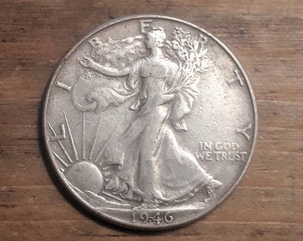 Post WW2 1946 Walking Liberty Siver Half Dollar  90 percent SILVER