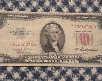 1953 A  Crisp 2 dollar red seal bill Fine