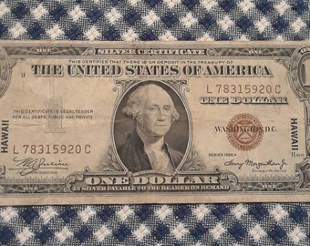 1935-A WW2 Hawaii Emergency Issue Silver Certificate Brown Seal Low Print (LC) Block Fine