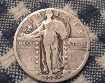 1928-D Standing Liberty  90% Silver US Quarter
