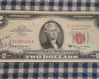 1963-A 2 dollar red seal bill Block (AA) Low plate numbers