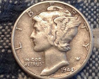 1944 War World II  Mercury Dime 90% Silver