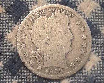 1909-D Liberty Barber 90% Silver US Quarter