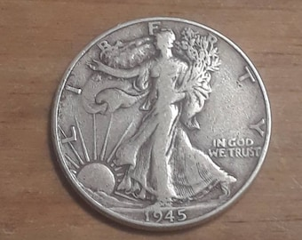 World War 2  Era 1945  Walking Liberty Siver Half Dollar  90 percent SILVER