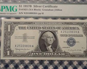 *Fr 1621 1957 B $1 Silver Certificate PCGS Graded 67 PPQ SUPERB GEM NEW SA Block