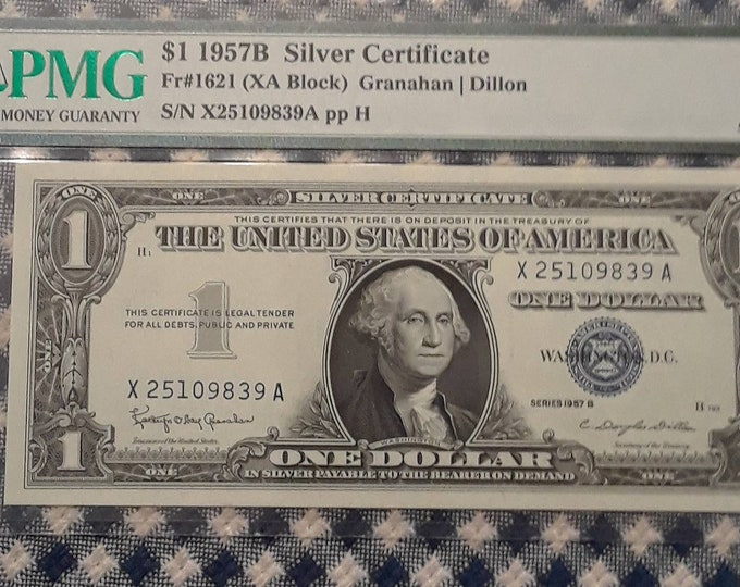 Featured listing image: 1957 B One Dollar Silver (XA Block) Certificate Graded 67 Superb  Gem Uncirculated Exceptional Paper Quality