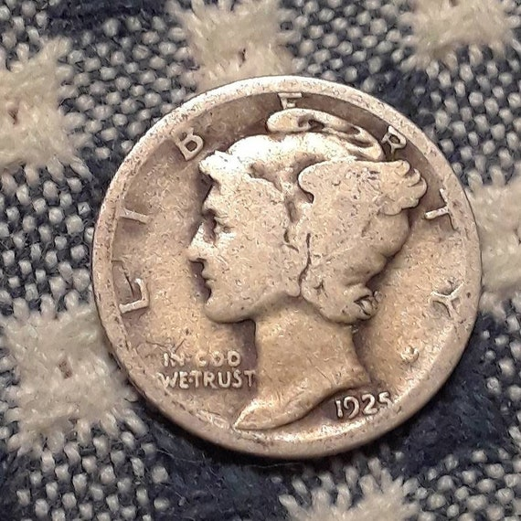 1925 Mercury Dime 90% Silver Rolling 20's era.