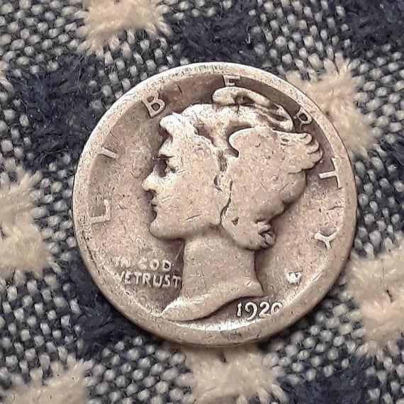 1920 Mercury Dime 90% Silver Rolling 20's era.