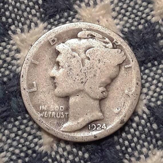 1924 D Mercury Dime 90% Silver Rolling 20's era.
