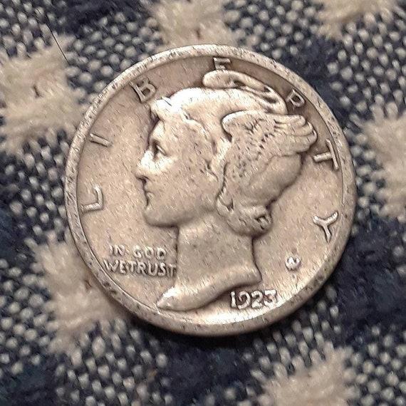 1923 Mercury Dime 90% Silver Rolling 20's era.