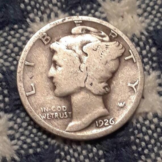 1926 Mercury Dime 90% Silver Rolling 20's era.