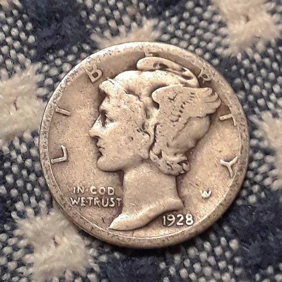 1928 S  Mercury Dime 90% Silver Rolling 20's era.