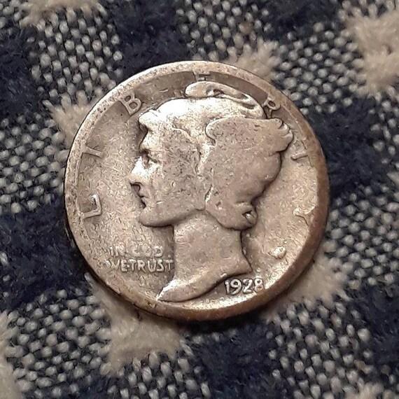 1928 Mercury Dime 90% Silver Rolling 20's era.