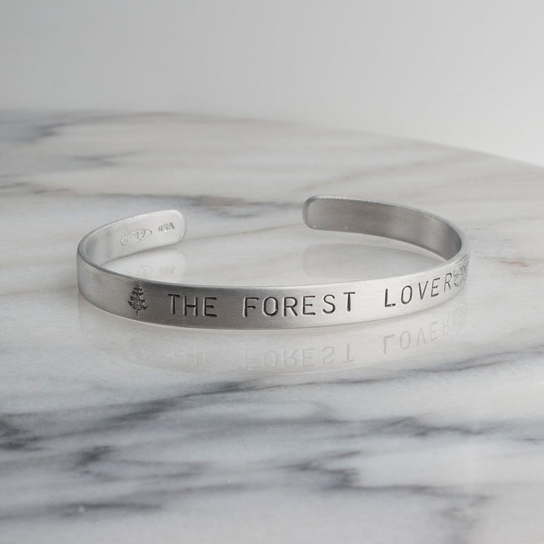 b3a673a0d Aluminum Cuff Bracelet The Forest Lovers Hand Stamped   Etsy