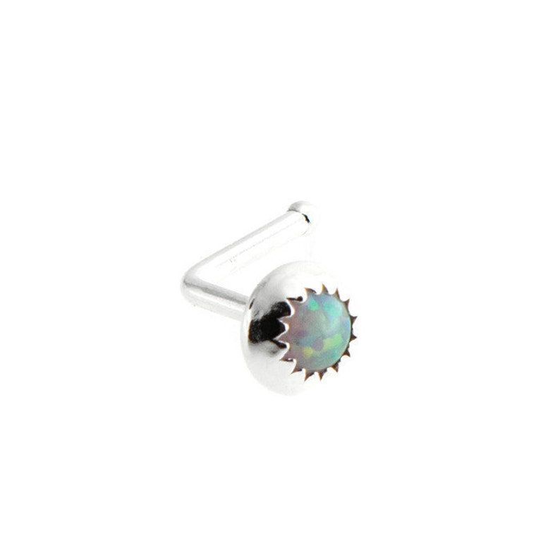SS-L-20GA-WOPAL Nose ring Cartilage Silver Nose Ring L piercing 20ga Nose Ring Nose L Shape Piercing Opal Stone Tragus Stud