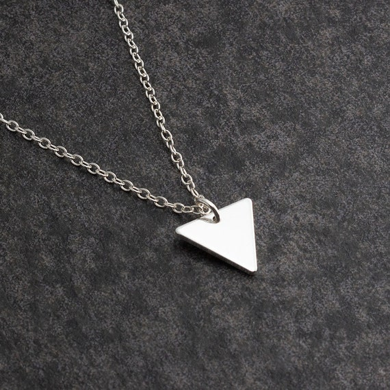 crew neck with small green triangle pendant silver 925 and steel handmade in Italy.Idea gift woman. Mosaic necklace