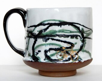Handmade Pottery Mug with 24kt Gold Bicycle and Abstract Lines with Green and Black