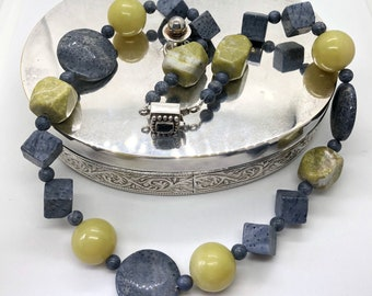 A41 Natural Lemon Jade and  blue coral beads