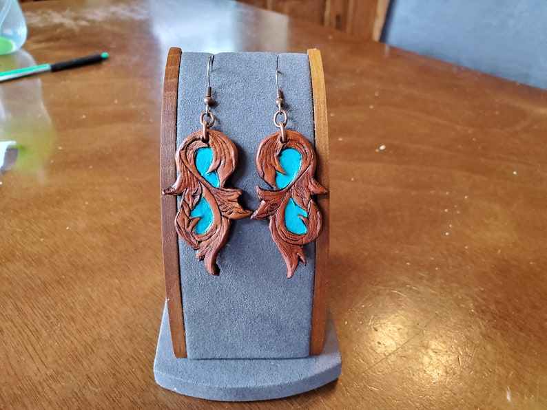 Turquoise Accented Leather Earrings ~ Country Western Leather Turqoise Earrings ~ Statement Leather Earrings ~ Earthy Leather Earrings