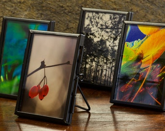 Miniature AgathaO Signed Art Print in black pressed glass standup frame