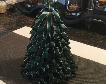 Green With Touch Of Gold Colored String Ribbon Tree