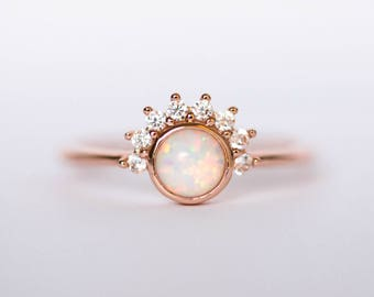 Opal Ring | Rose Gold Opal Ring | Crown Ring | Cluster Ring | Raw Opal Ring | White Opal Ring | Engagement Ring | October Birthstone <Z-1>