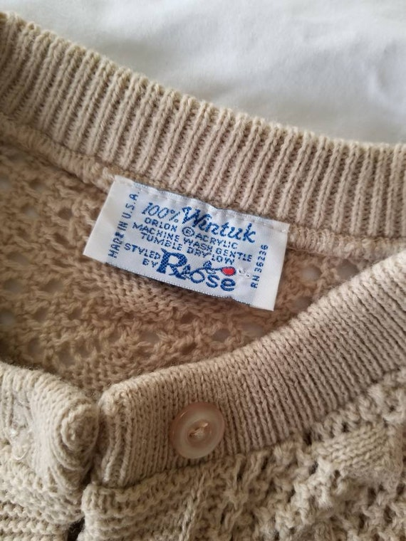 Made in the USA CottonAcrylic Large 48 chest Men/'s Pullover Knit w Ducks Applique Beige and Cream