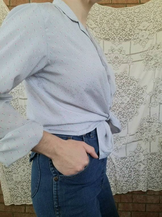 Vintage Grey Blouse / Long Sleeves / 70s / Button… - image 3