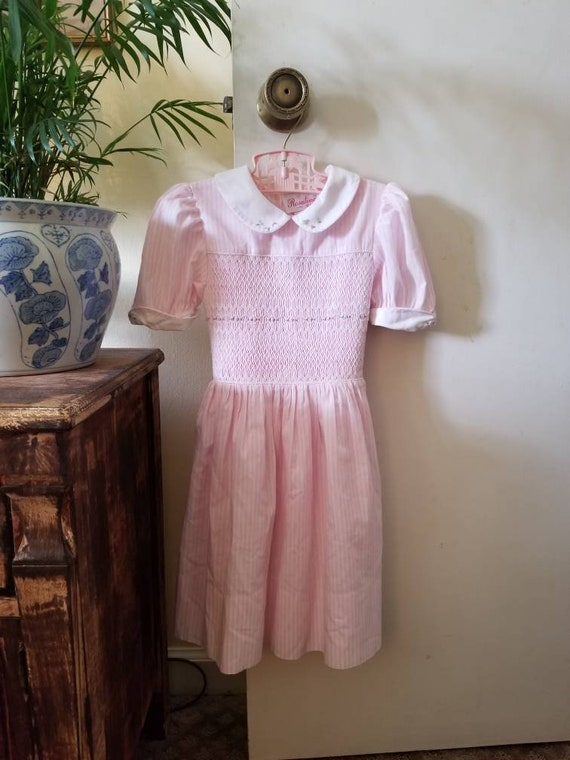 Vintage Pink Smocked Dress / Toddler Smocked Dress