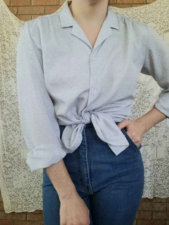 Vintage Grey Blouse / Long Sleeves / 70s / Button… - image 1
