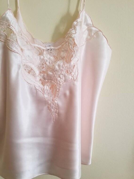 Vintage Pink Cutout Camisole / Camisole Slip / Lin