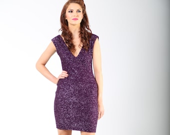 Womens Purple Tinsel Stretch Party Designer V Neck Dress size 10