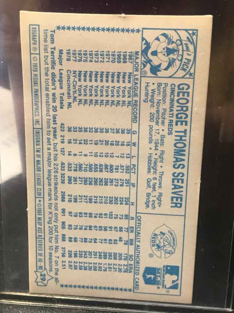 1979 Kellogs Visual Panographics Tom Seaver 3D Superstar Card #29 of set!
