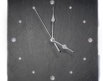 Hand Made Welsh Slate Clock with Gem Stones
