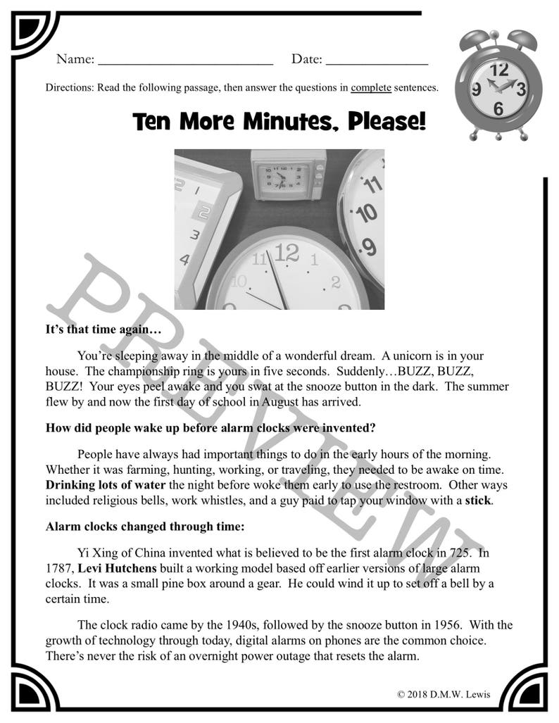 3 Daylight Saving Time Reading Comprehension Paired Passages: Fun Reading  Passages for Kids!