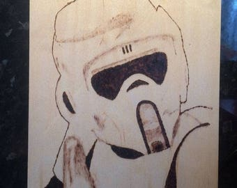 Handburned Pyrography Biker Scout Trooper Wooden Picture