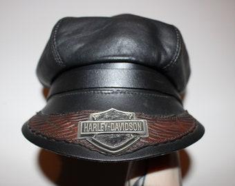 54d2c0d0f84eb Vintage 1980s HARLEY DAVIDSON BIKER Hat   Vintage Black Leather Biker Hat    Motorcycle Hat